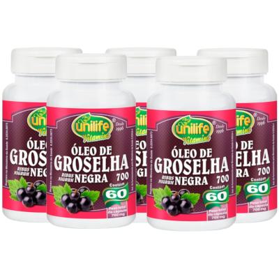 Óleo de Groselha Negra 60 cápsulas 700mg  Kit com 5