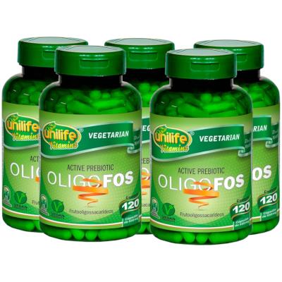 Oligo-fos Prebiótico Ativo Vegano 120 cápsulas de 550 mg kit com 5
