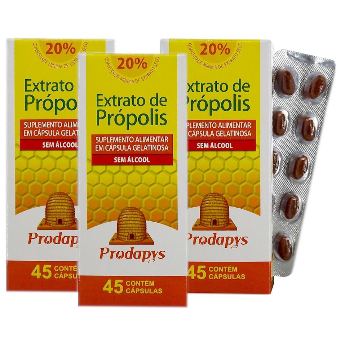 Própolis Marrom - Suplemento Alimentar 45 Cápsulas sem Álcool Kit com 3