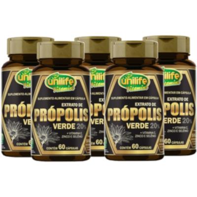 Própolis Verde + Vitamina C Zinco Selênio 60 cáps Kit com 5