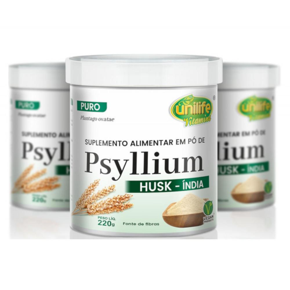 Psyllium Plantago Ovata em Pó Puro 220g Husk-Índia Kit com 3