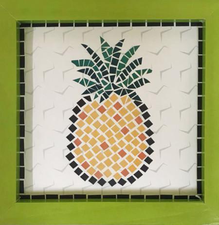 Quadro Decorativo para Cozinha Estilo Mosaico - Fruta Abacaxi