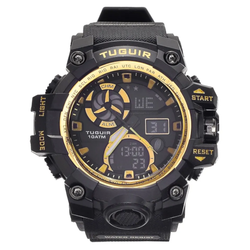 Relógio Masculino 10ATM Analógico e Digital TG108 Preto e Dourado