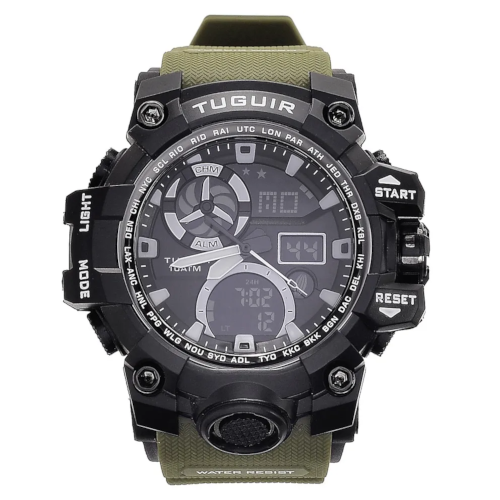 Relógio Masculino 10ATM Analógico e Digital TG108 Preto e Verde