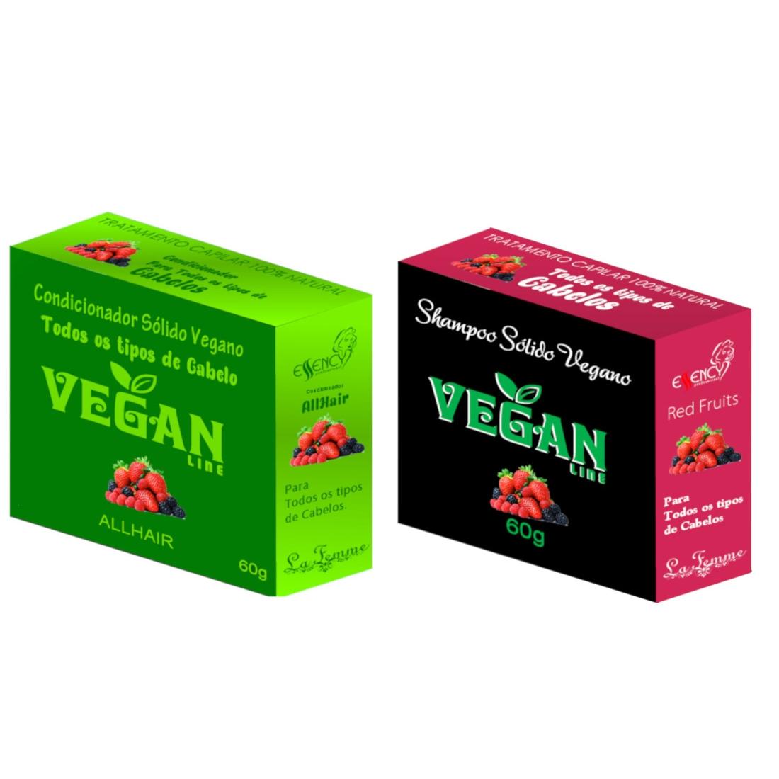 Shampoo Sólido Frutas Vermelhas + Condicionador Solido Frutas Vermelhas Vegan Line-