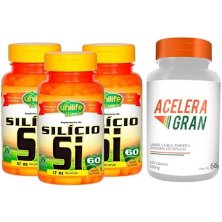 Silício Quelato Kit com 3 + Acelera Gran 120 cápsulas 550mg
