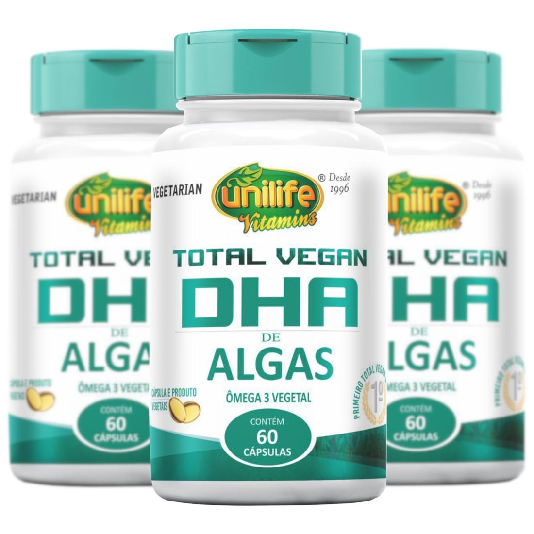 Total Vegano DHA de Algas 750mg 60 Cápsulas kit com 3