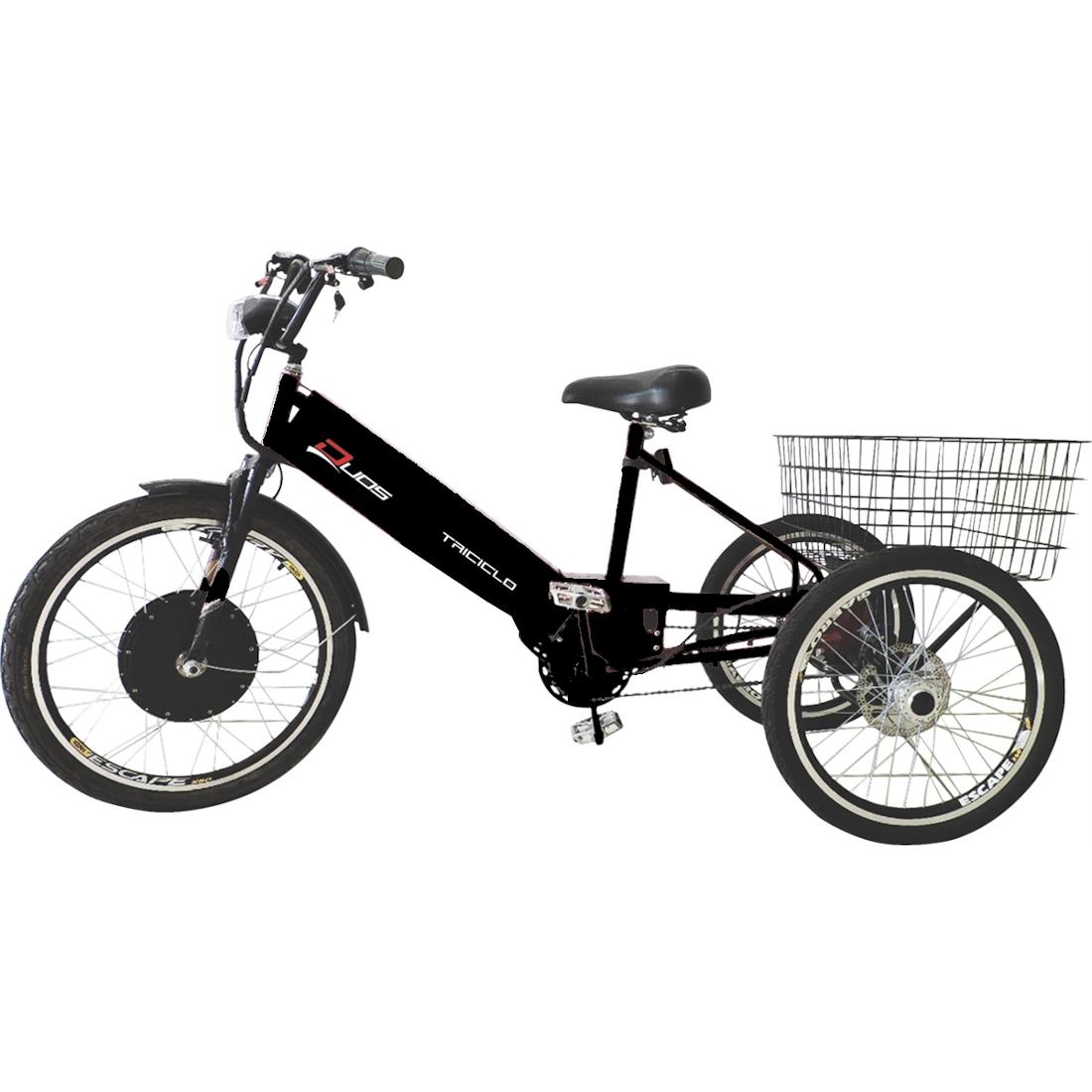 Triciclo Elétrico 800W com Pedal e Freio a Disco Sport Preto