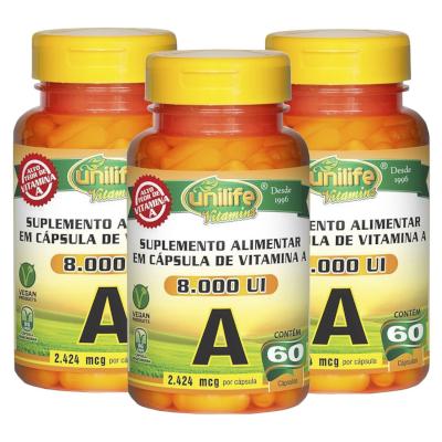 Vitamina A Retinol 60 cápsulas de 500mg Kit com 3