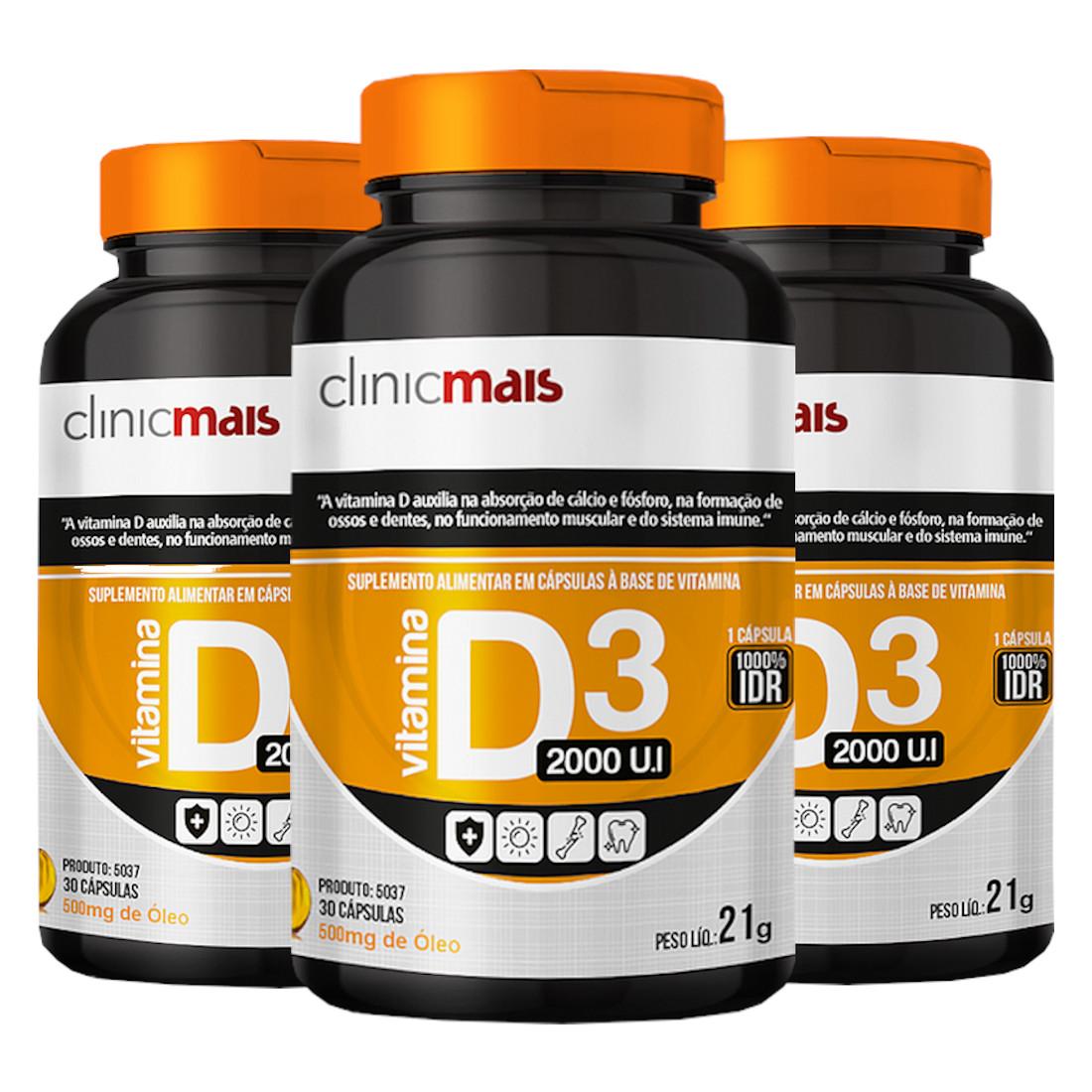 Vitamina D3 Óleo 2000 U.I. 30 cápsulas de 500mg Kit com 3