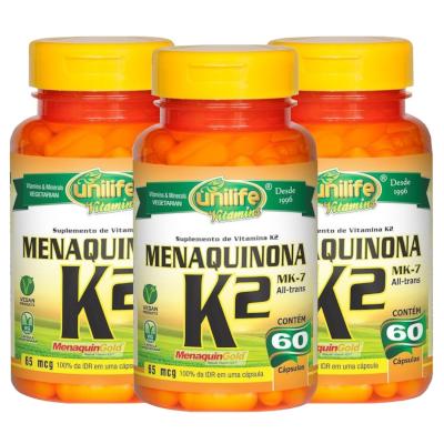 Vitamina K2 Menaquinona 60 Capsulas de 500mg Kit com 3