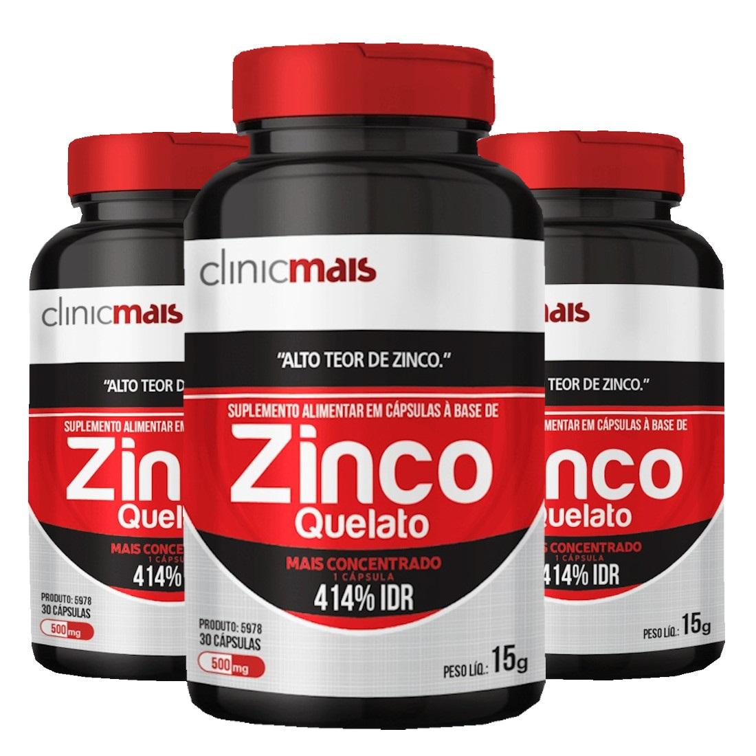 Zinco Quelato  30 Cápsulas de 500mg Kit com 3