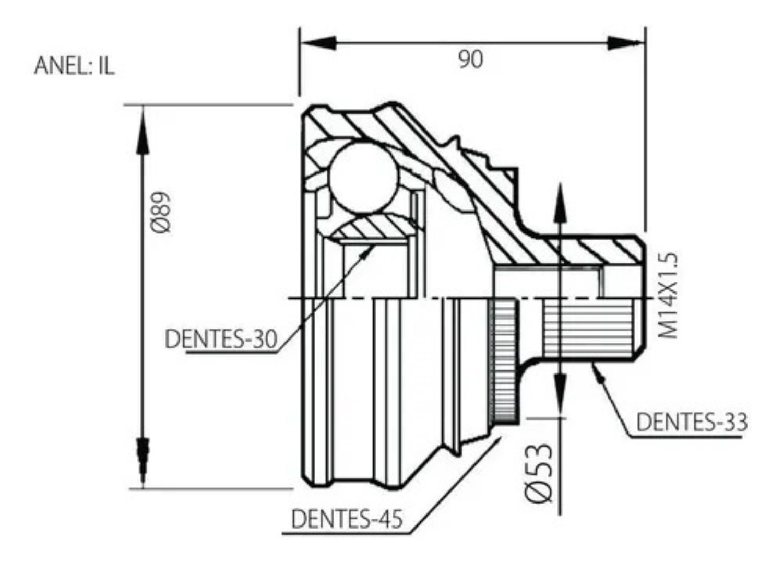 HOMOCINETICA AUDI A4 1.8  20V TURBO/ASP / PASSAT 1.8 20V TURBO/ ASP 33X30