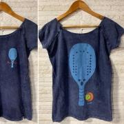 Camisa FEMININA BALI Algodão Beach Tennis Raquete Costas 2 - Azul Marmo