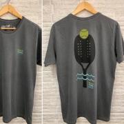 Camiseta T-Shirt  Beach Tennis RAQUETE COSTAS  PRETO /CHUMBO