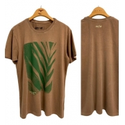 T-Shirt Stone Algodão Folha Life Style - Morrom