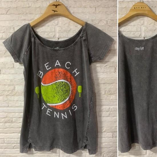 Camisa Tam.PP - FEMININA BALI Algodão Beach Tennis Bola - Cinza Marmo