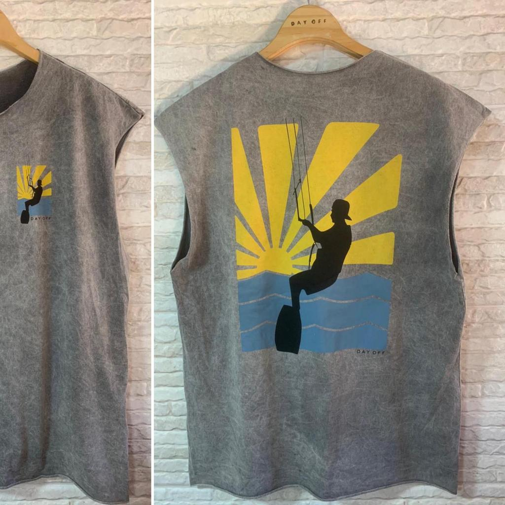 Camiseta Machão Marmorizada Kitesurf SOL  Cinza