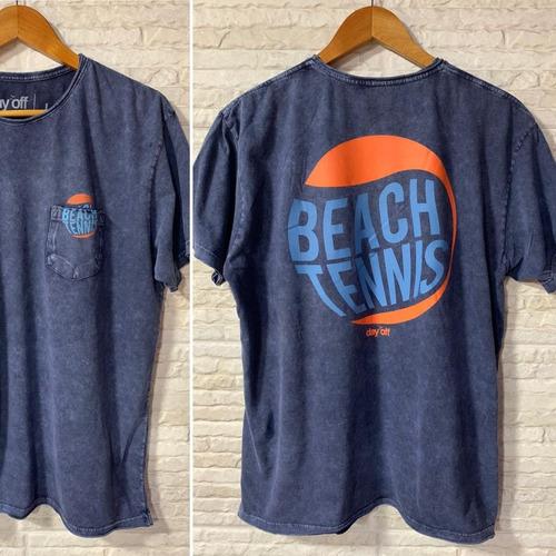 Camiseta T-Shirt Marmorizada com Bolso Beach tennis Bola 2 - Azul