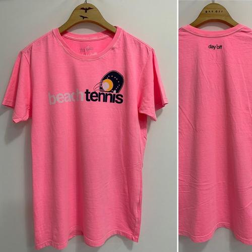 T-SHIRT BEACH TENNIS PEITO 2 - FLUOR PINK
