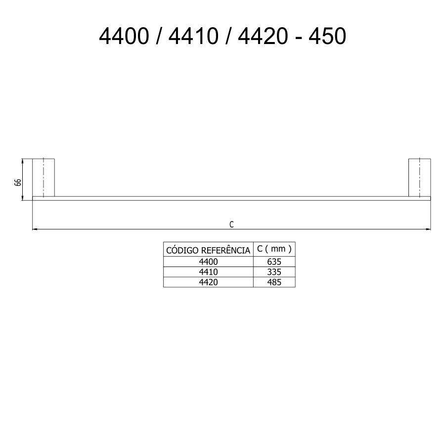 Fani Porta Toalha Reto Longo 4400 BK450 Horus Black