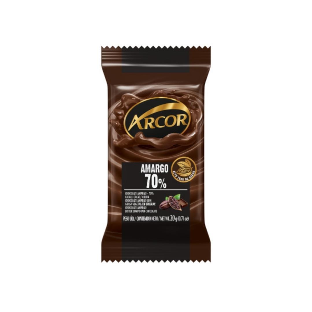 Chocolate Amargo 70% 20g Arcor