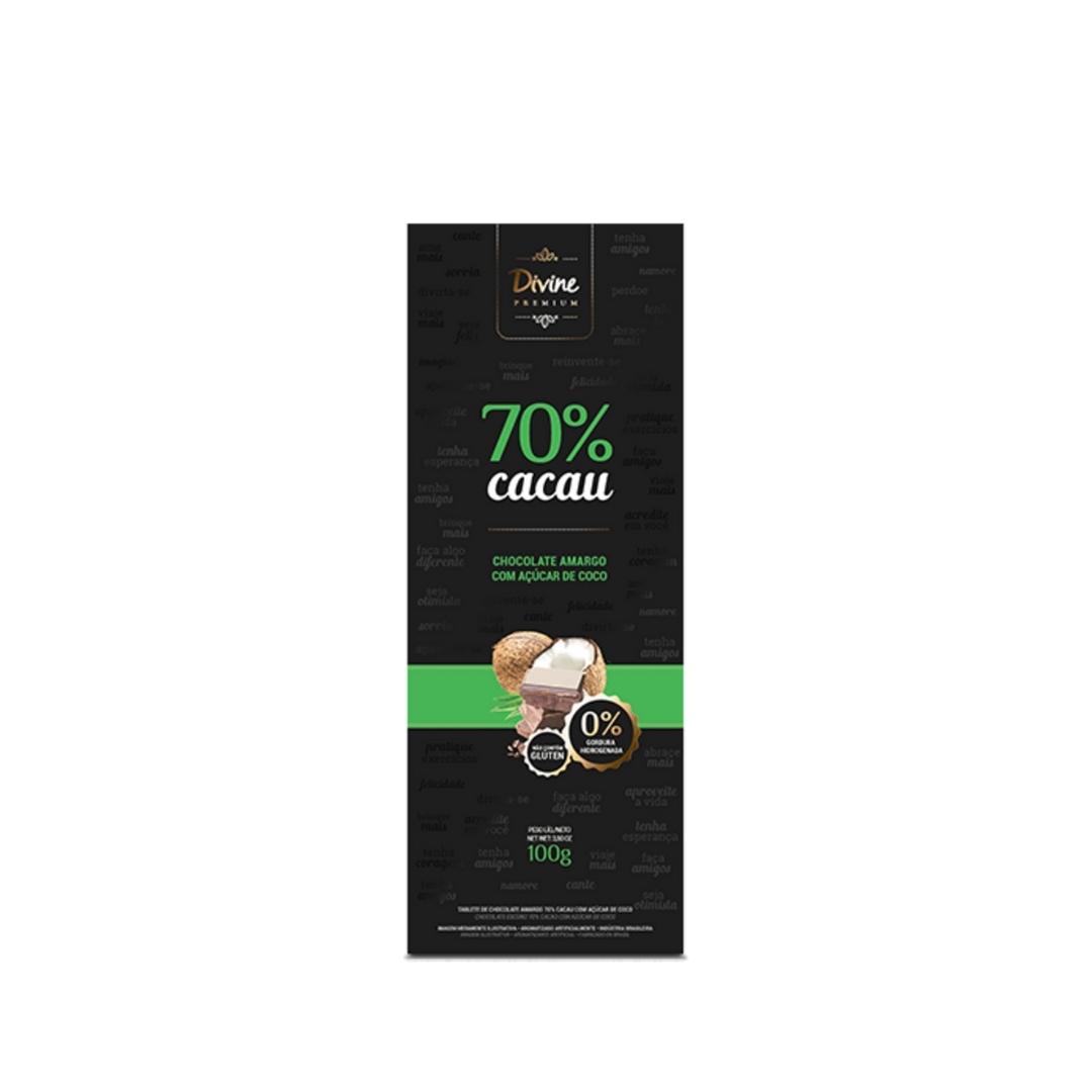 Chocolate Amargo Com Açucar de Coco 70% Divine Premium