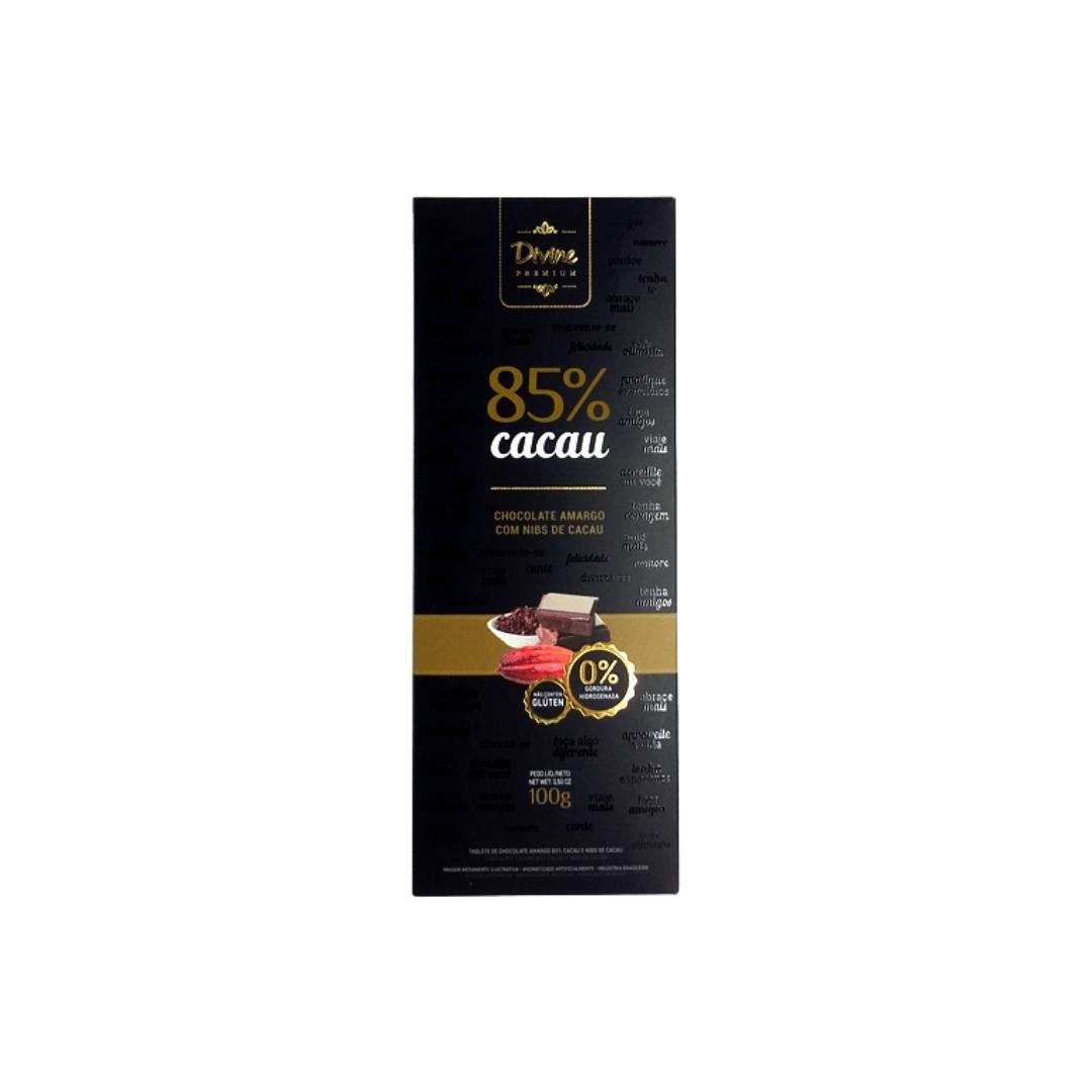 Chocolate Amargo Com Nibs de Cacau 85% Divine Premium