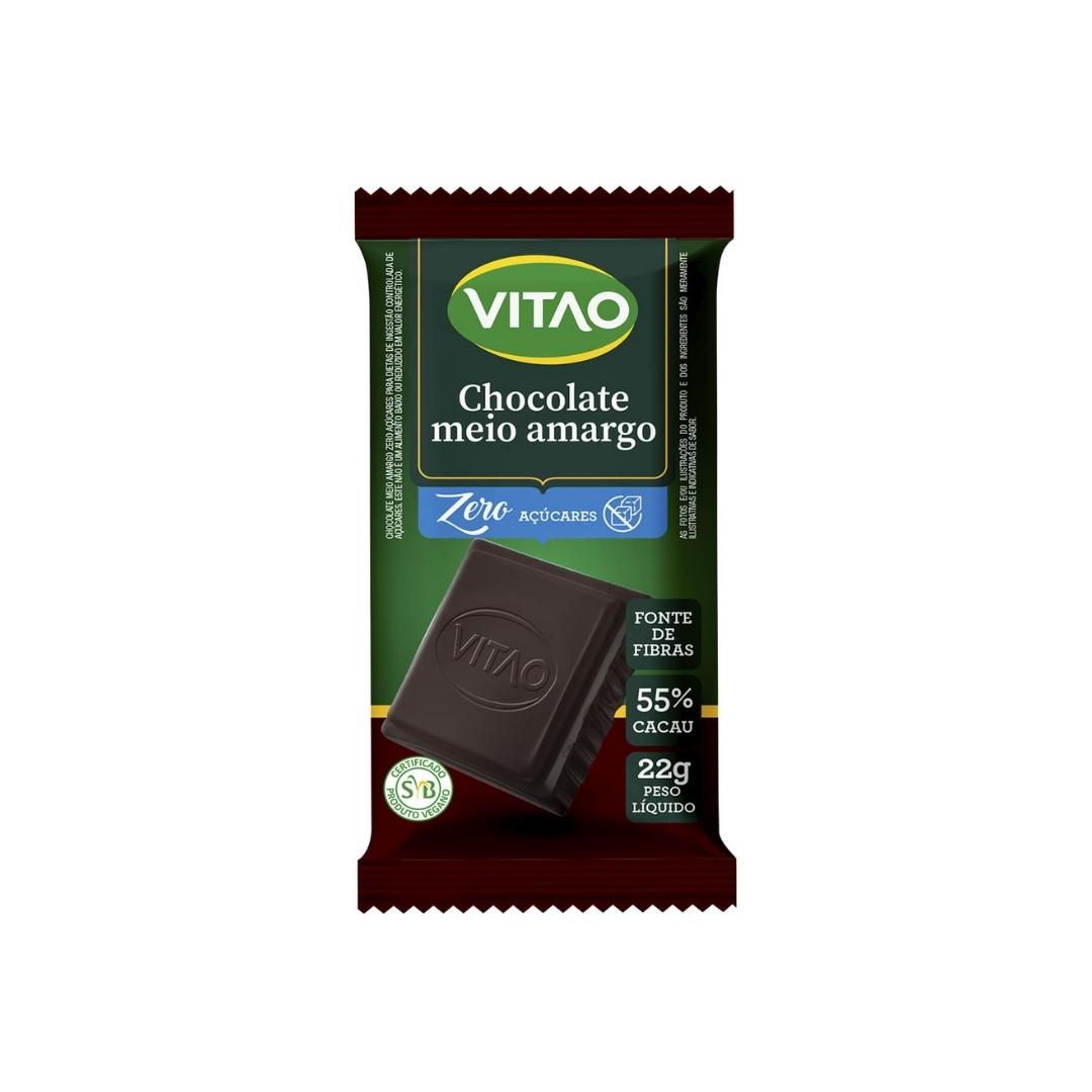 Chocolate Meio Amargo Zero Açucar 22g Vitao