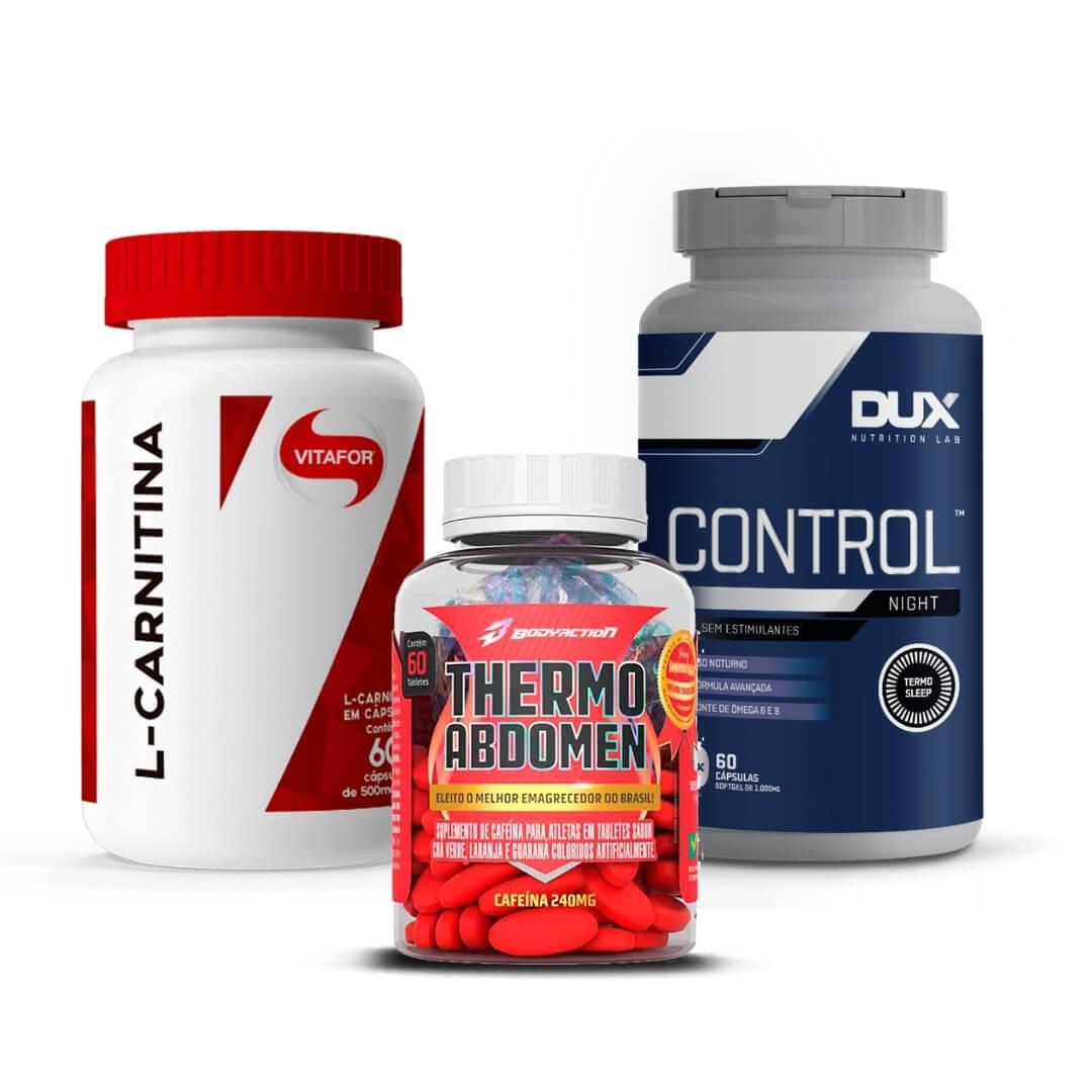Combo de SLIM- L-Carnitina 120 Caps Vitafor + Thermo Abdomen 60 Caps BodyAction + Control Night 60 Caps Dux Nutrition