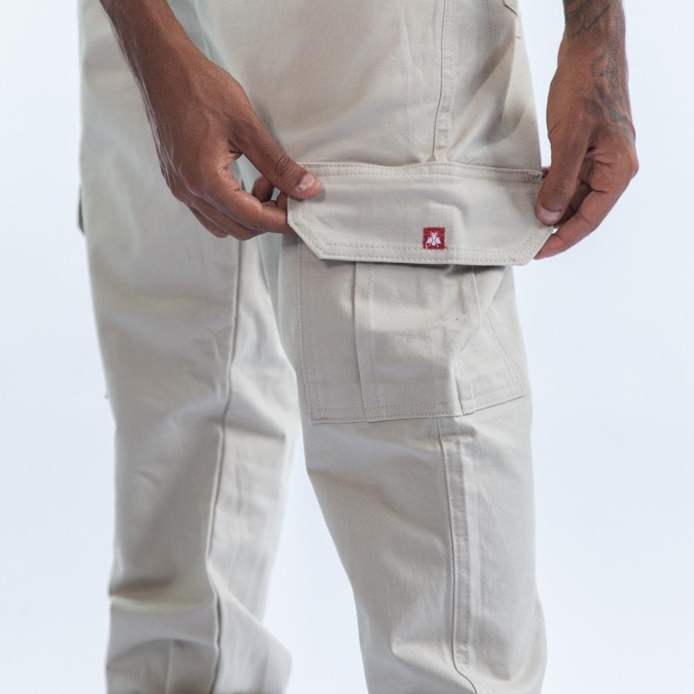 Calça Sarja Cargo Jogger - Bege InJ01
