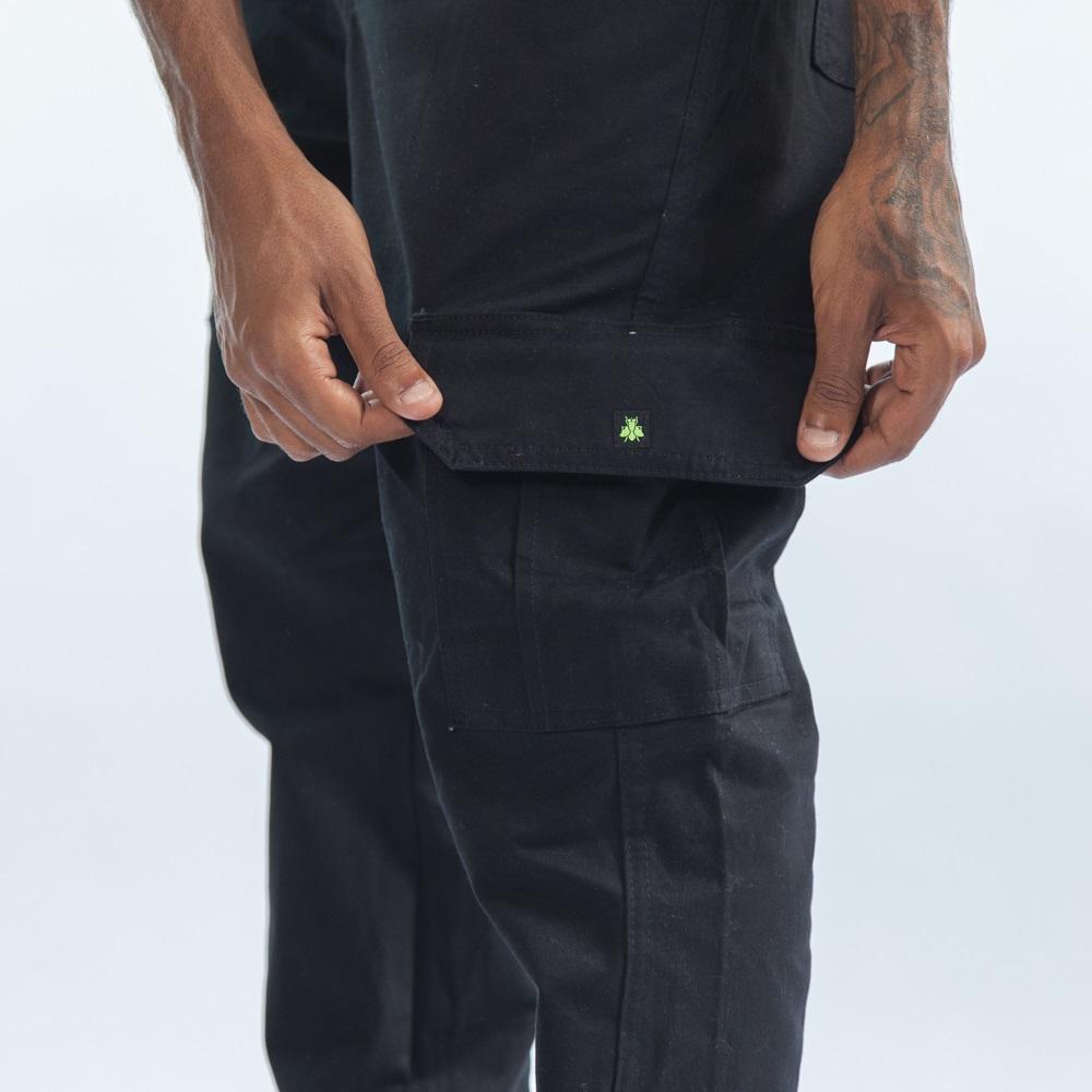 Calça Sarja Cargo Jogger - Preto InJ01