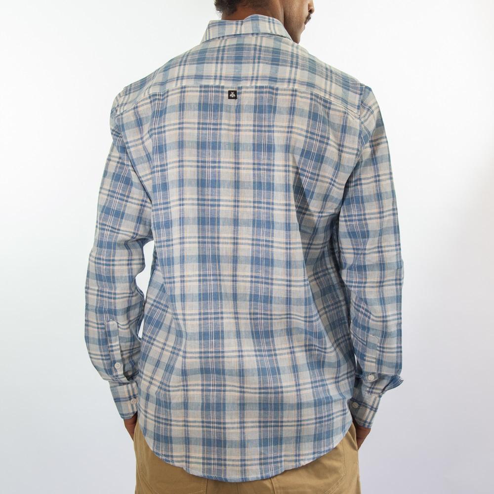 Camisa de Linho Branco e Azul Claro  3028