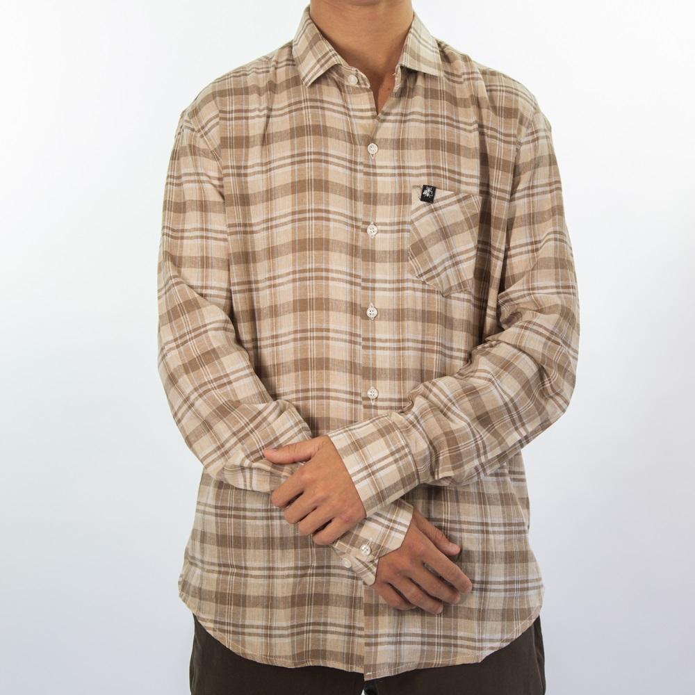 Camisa de Linho Bege e Amarelo 3031
