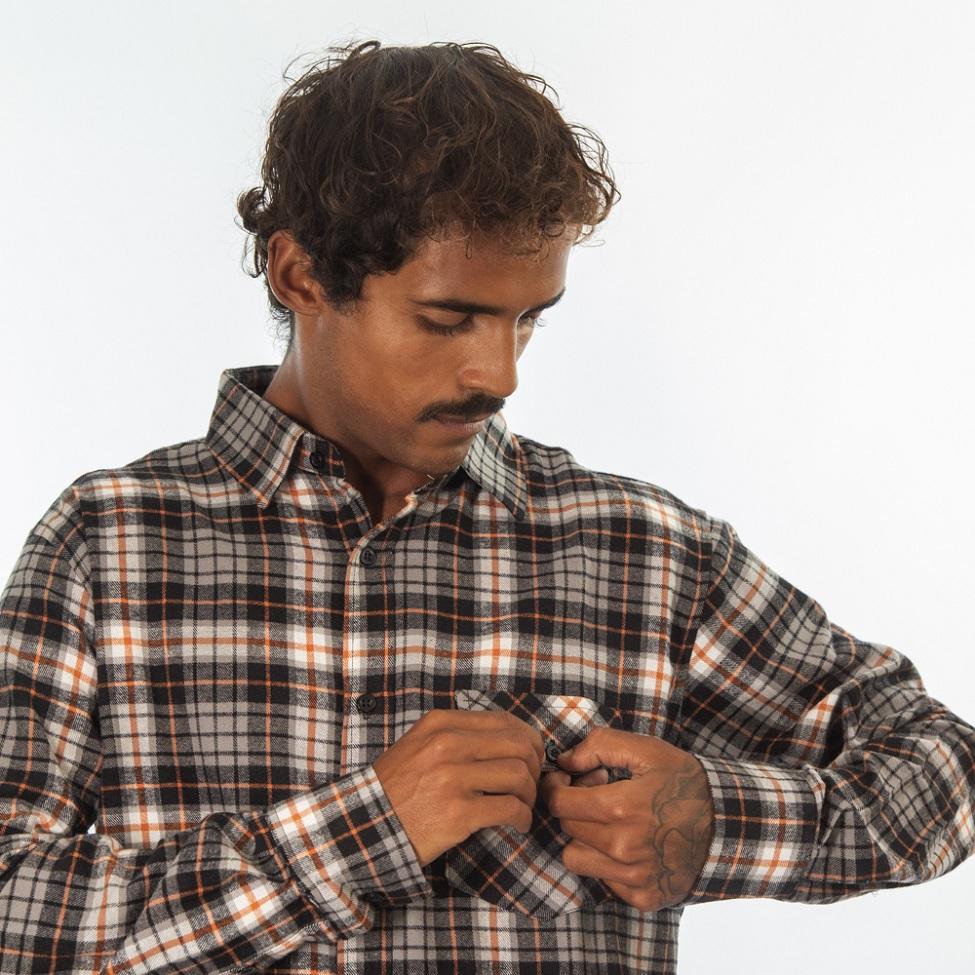 Camisa Flanela Bege Marrom e Laranja 280020