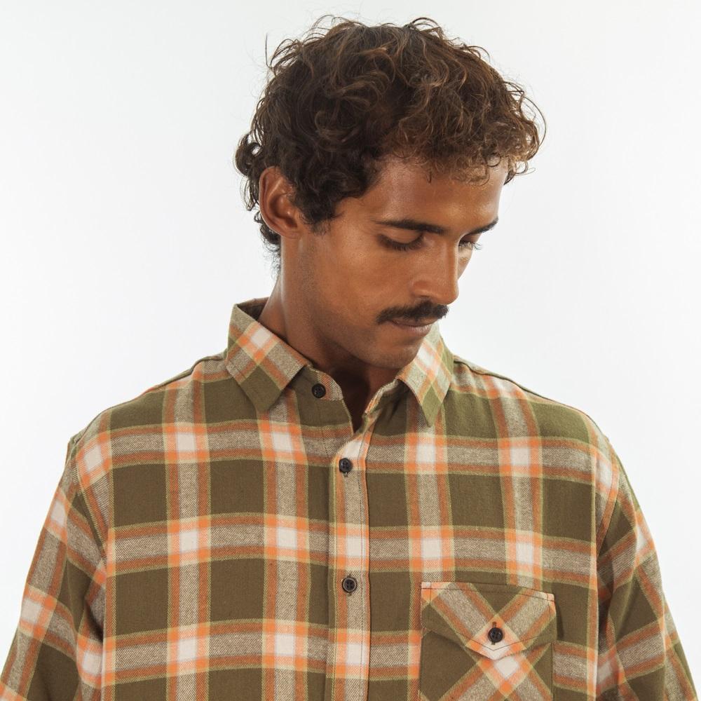 Camisa Flanela Verde Musgo e Bege 280620