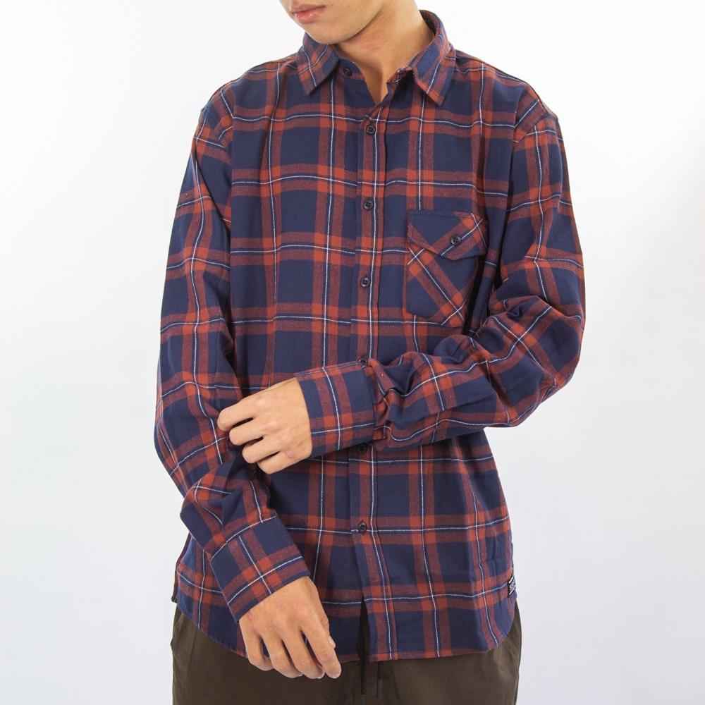 Camisa Flanela Vermelho Azul Escuro 3037