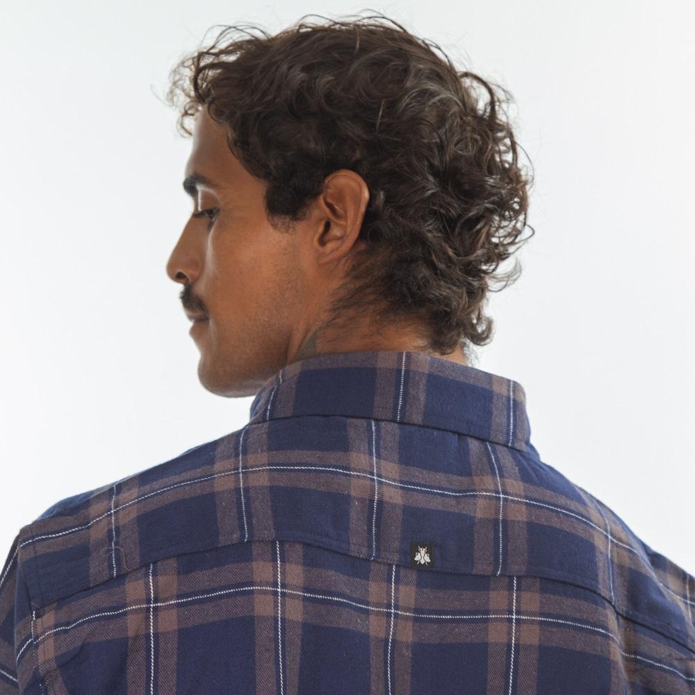 Camisa Flanela Cinza Azul Escuro 3038