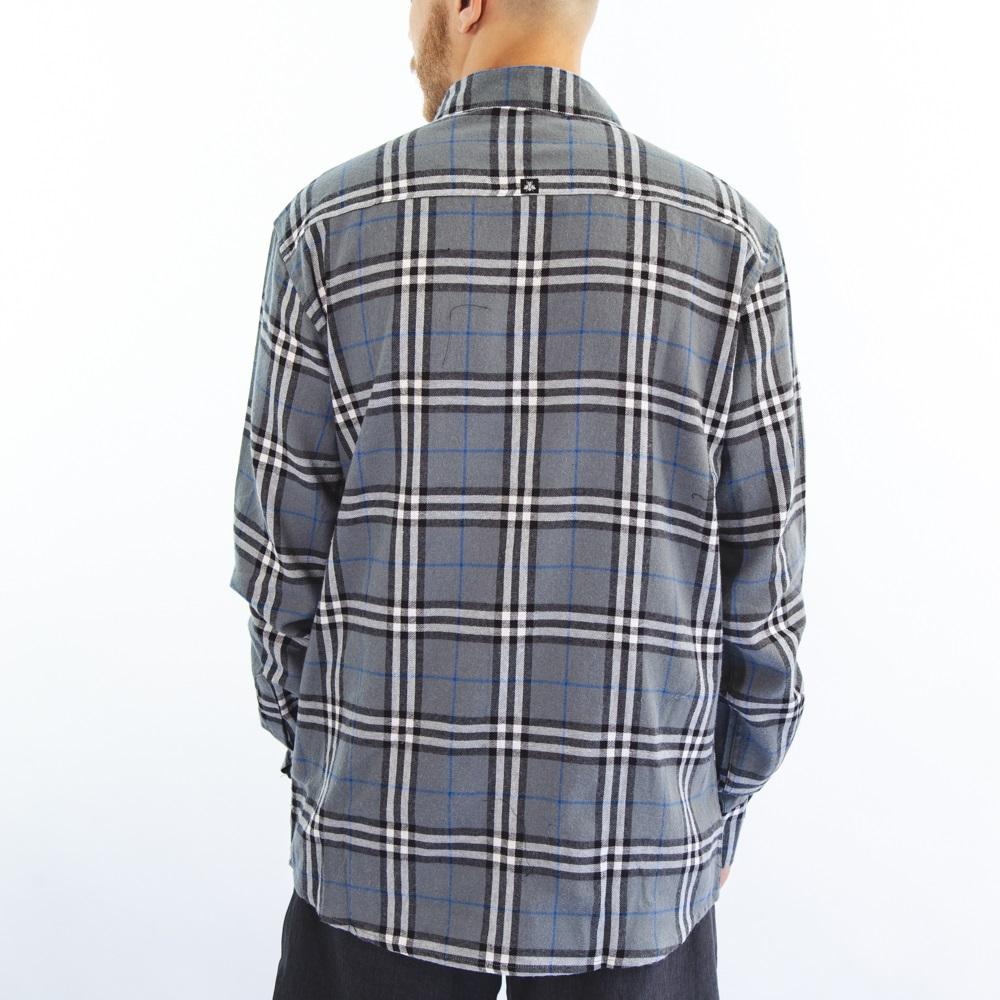 Camisa Flanela Branca Cinza 3041