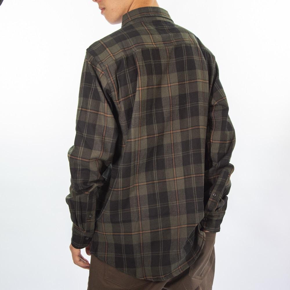 Camisa Flanela Verde Musgo e Preto Cflm-100-2