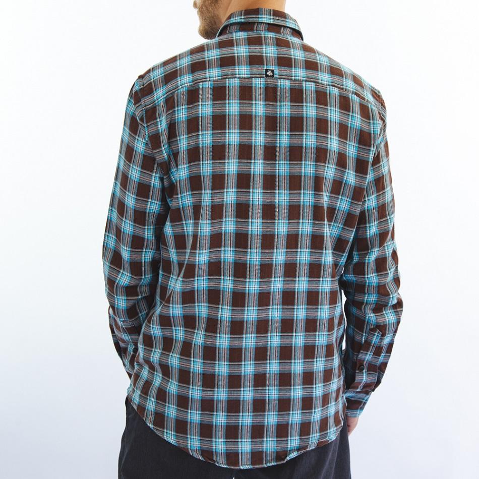 Camisa Flanela Marrom e Azul 6220