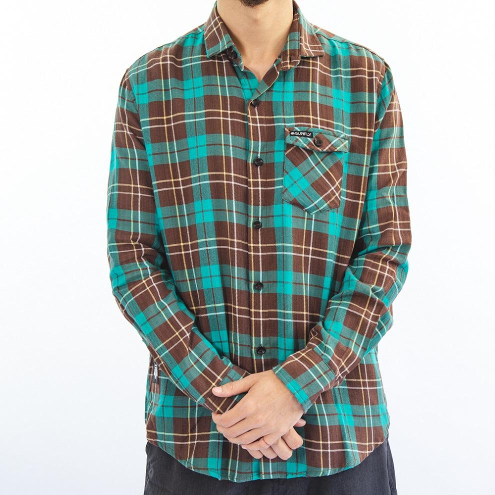Camisa Flanela Verde Agua e Marrom 6020