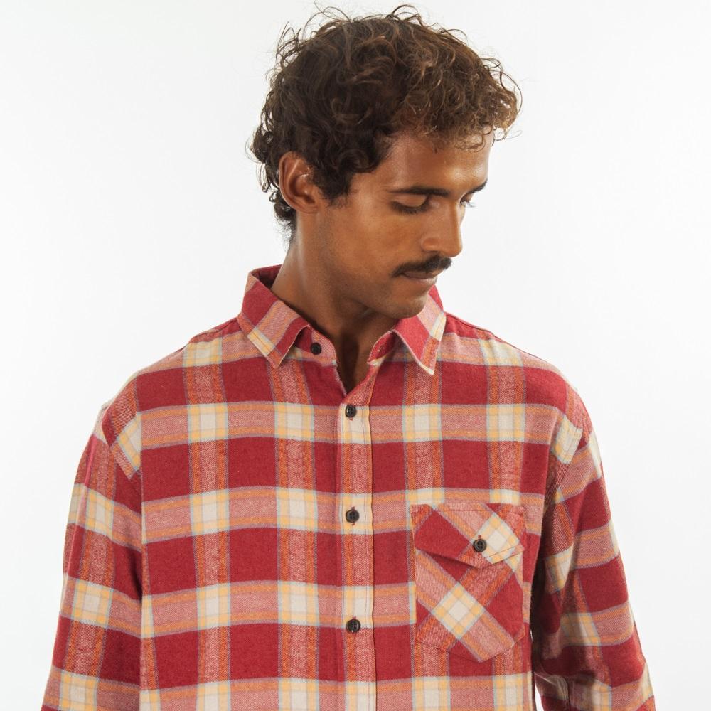 Camisa Flanela Vermelho e Amarelo Claro 280120