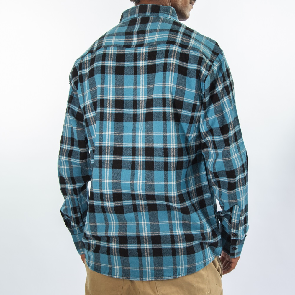 Camisa Flanela Preto e Azul Claro 280320
