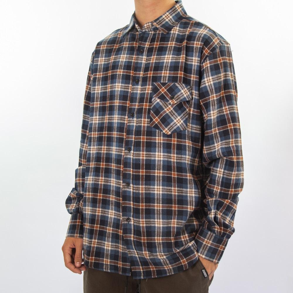 Camisa Flanela Azul e Laranja 280920