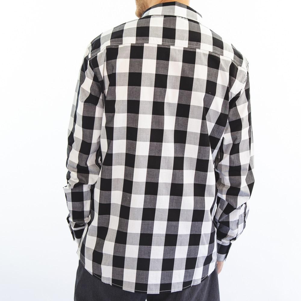 Camisa Tricoline Preta e Branca 3046