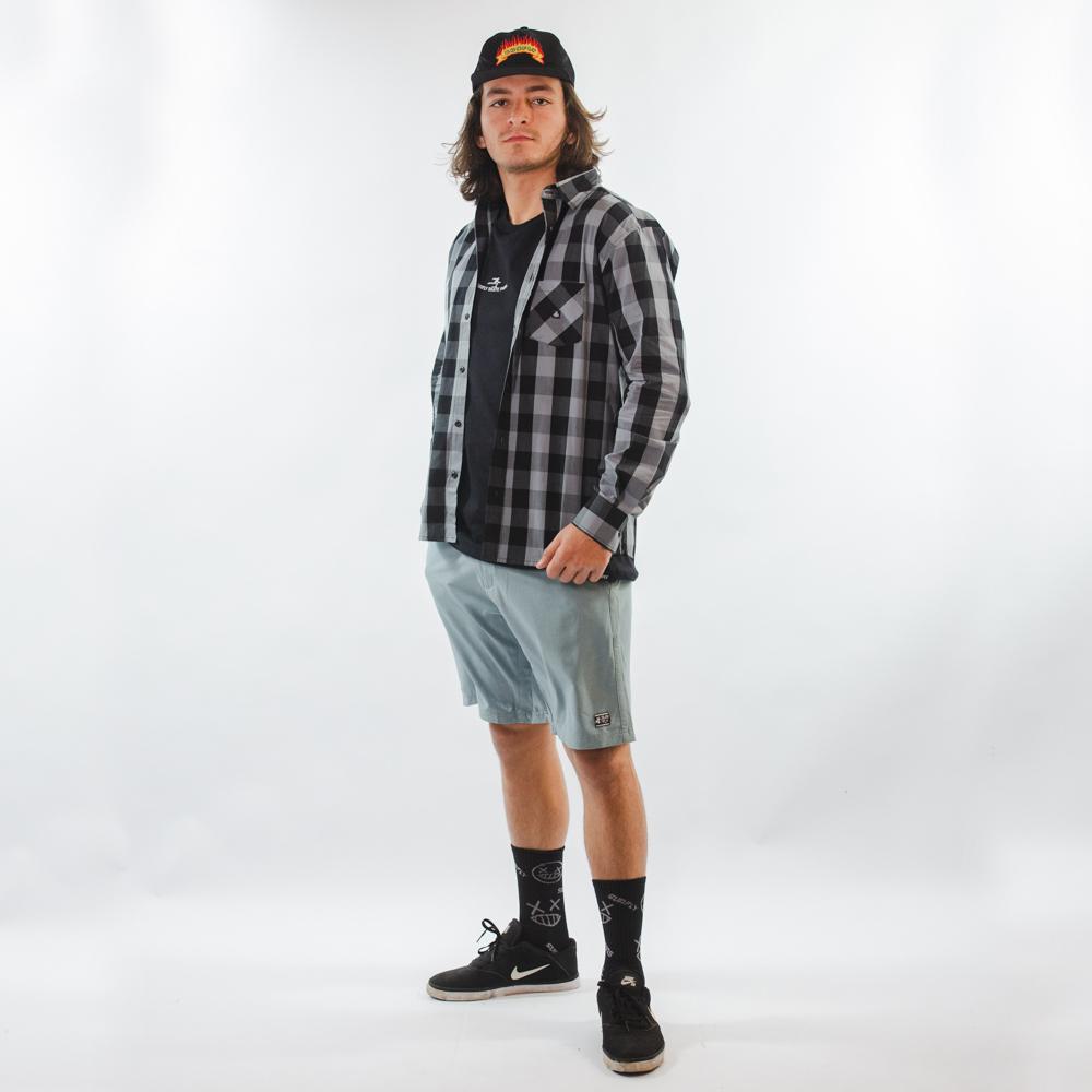 Camisa tricoline Preta e Cinza 3047