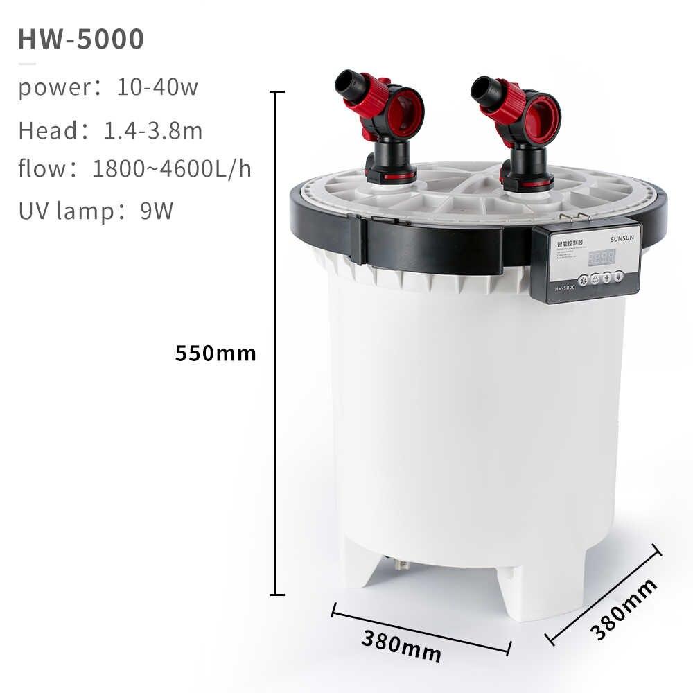 Filtro Canister Sunsun Hw 5000 Uv 9w 4600L/h P/ Aquário
