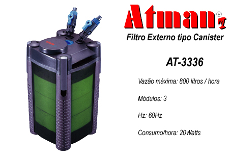Filtro Externo Canister Atman At- 3336 3 Cestas 800l/h