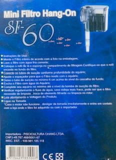 Filtro Hang-On SF-60 60L/h Para Aquários Até 15L 220v